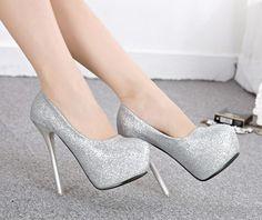 forma glitter meninas mulheres sapatos saltos mulher casamento 2014 plataforma de senhoras bombas sensuais finos saltos altos sapatos de festa prata C328