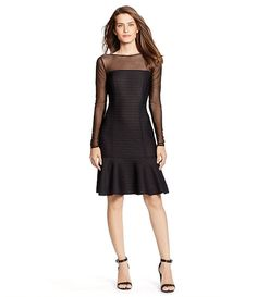 c411d611ea Lauren Ralph Lauren Ribbed Illusion Fit-and-Flare Dress