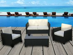 miami beach collection 4 pc outdoor rattan wicker sofa sectional patio furniture set black rust cushions the wicker house balcony furniture miami