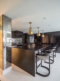 James Dixon Architecture - kitchens - black cabinets, black kitchen cabinets,antique mirror tiles, brass fixtures, t-back barstools