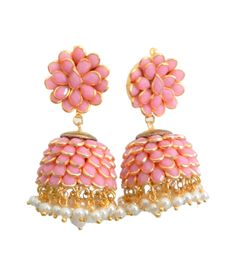 Dee Jewels Gold Plated Baby Pink Paachi Jhumki With Small Pearl Drop