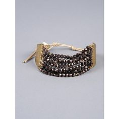 Nakamol Beaded Tie Cuff ($49) ❤ liked on Polyvore featuring jewelry, bracelets, bronze combo, nakamol jewelry, beads jewellery, cuff bangle, beading jewelry and beaded bangles