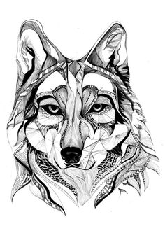 wolf... How cool would this be done in different wood veneers on a wall at camp!!