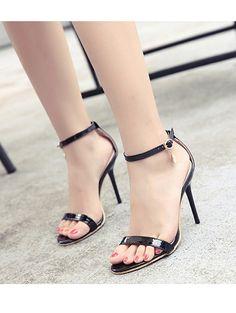 Sexy pure color elegant slim heel sandals YS-C5653-Lovelyshoes.net
