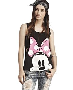 """<p>Disney's Minnie Mouse™ is cute and chic, so she's the perfect mouse to rep, like with this loose-fit tank top featuring a close-up image of Minnie's™ face with her gorgeously long eyelashes and large pink bow. Tank has narrow straps, super wide arm openings great for a peek at the under layers (like a bandeau) and a deep scoop neckline and back. Tank is unlined.</p>  <p>Model is 5'9"""" and wears size small.</p>  <ul> <li>60% Cotton / 40% ..."""