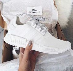 All white women's Adidas NMD's sneakers. At TheShoeCosmetics all white trainers are the canvas, the fresh face to a sneaker makeover. An all white pair of Adidas tennis shoes are perfect canvas for a customized sneaker. Cute Shoes, Me Too Shoes, Women's Shoes, Shoe Boots, Roshe Shoes, Shoes Sneakers, Converse Shoes, Girls Sneakers, Fall Shoes