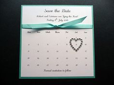 Turquoise Blue Calendar Theme Save the Date with knotted ribbon and a diamante…