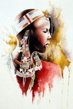 Rouge masaï (Peinture),  35x50 cm par Sonia Privat Aquarelle Disponible en reproductions A4, A3