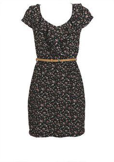 Black Ruffle Floral Belted Dress - fr