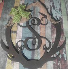 Front Door Hanger, Door wreath, Vine Monogram, Wall Decor, Wedding Gift , Shower Gift, Monogram Door Sign, Metal Monogram, B, Name Decor