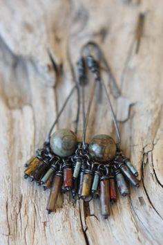 Long Copper Tear Earring Featuring Red Creek by SparrowtaleStudio