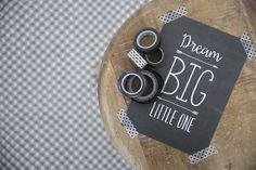 Little Dutch ★ Card ★ #littledutch #washitape #maskingtape #monochrome #black #white #dream #big #little #one