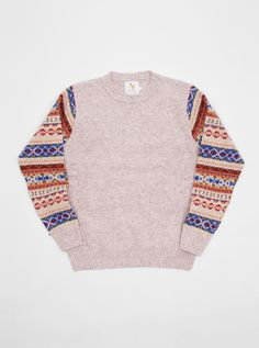 William Fox & Sons Jumper Fairisle Arm Cream