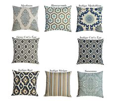 Blue Linen Decorative Throw Pillow Cover Sale 7 Sizes Cushion Covers Toss Pillows