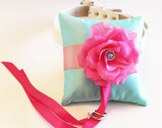 Aqua blue Hot Pink Ring Pillow, Ring Pillow attach to the High quality Leather Collar, Ring Bearer Pillow, Pet wedding accessory