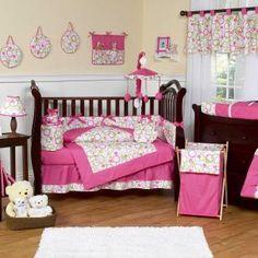 Mod Circles Pink and Green Bedding by JoJo Designs - Circle Baby Crib Bedding - circles-pk-or-9