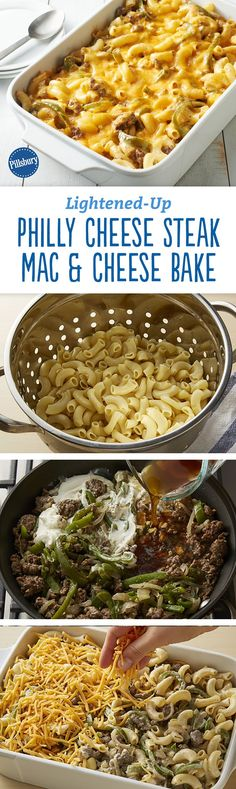 Watching your waistline doesn't mean you have to miss out on comfort food! Our lightened-up version of mac and cheese still features all of the creaminess you've come to expect with your mac, but does it in less than 400 calories per serving, AND adds a Philly Cheese Steak spin. Expert tip: Like a little heat? Top with sliced pickled banana peppers.