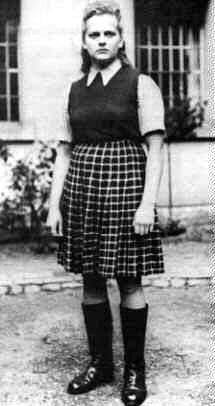 """""""She was in charge of supervising around 30,000 women prisoners, mostly Polish and Hungarian Jews, at Birkenau. She was transferred to Bergen-Belsen in March 1945, only a month before the liberation. It was claimed that there were lamp shades, made out of the skins of three women prisoners, found in her room at Birkenau."""""""