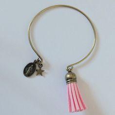 Bracelet jonc pompon - rose