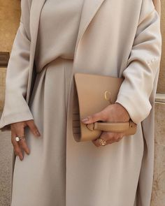 A close up of the most wanted Beige Co-Ord & The Oversized Coat set ✨ Modest Fashion Hijab, Modesty Fashion, Casual Hijab Outfit, Muslim Fashion, Casual Outfits, Fashion Outfits, Women's Fashion, Mode Abaya, Mode Hijab