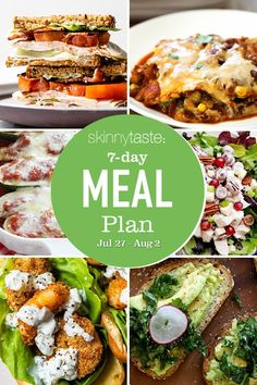 A free 7-day, flexible weight loss meal plan including breakfast, lunch and dinner and a shopping list. All recipes include calories and updated WW Smart Points. Healthy Meals For Two, Healthy Meal Prep, Meals For The Week, Healthy Eating, Healthy Recipes, Healthy Weight, Healthy Food, Weight Loss Meal Plan, Weight Watchers Meals