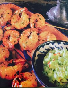 🍤Chili-marinated Shrimp With Avocado Sauce. Bbq Prawns, Marinated Grilled Shrimp, Prawn Skewers, Chili, Grilling, Avocado, Meat, Recipes, Drink