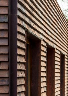 Contemporary Architecture, Architecture Details, Cladding Materials, Red Tiles, Exterior Cladding, Timber House, Brickwork, House In The Woods, Brick Wall
