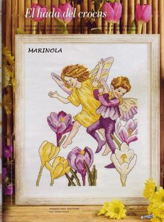 Cross stitch - fairies: Crocus fairy - Cicely Mary Barker - close-up segment (free pattern with chart)