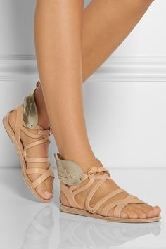 Ancient Greek Sandals|Nephele leather wing sandals|NET-A-PORTER.COM