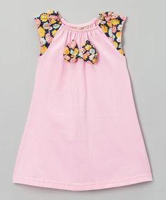 Look at this #zulilyfind! Pink Floral Bow Shift Dress - Toddler & Girls #zulilyfinds