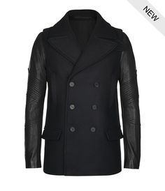 Digging this military-inspired pea coat with awesome leather sleeves