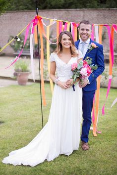 A Sequin Karen Willis Holmes Gown for a Colourful Wedding in the Countryside