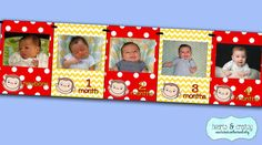 Curious George Party First Year Photo Banner / 12 Month Picture Banner by HeartsandCraftsy