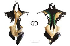 Chimera Bustier by Gabriel D. www.gabriel-d.com GOLD PLATED CORSET WITH GREEN BEATLEWINGS, BLACK MINK, BLACK ROOSTER FEATHERS AND BLACK IGUANA LEATHER PIECES MADE FOR A COLLABORATION WITH ROMAIN BRAU AND ALICE MABILEAU