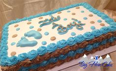 Baby shower sheet cake with feet, polka dots and rosette swirls #bighorncakes #sheridanwy