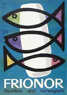 Frionor Ad by Piatti Celestino 1955 Vintage Advertising Posters, Vintage Travel Posters, Vintage Advertisements, Vintage Ads, Cool Fish, Fish Illustration, Kids Poster, Vintage Fishing, Book Design