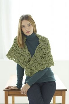 Tranquil Wrap free crochet pattern (size 18x55 inches -- crochet additional repeats of 4-9 for larger shawl)