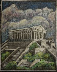 """5th Grade: Main Lesson; Ancient History and Mythology; Greece: Temple """"While we Ourselves Such a Structure Might Raise"""". (ArneKaiser) Tags: 5thgrade boarddrawings edited mrkaisersclass pineforestschool waldorf chalk chalkart chalkboard chalkdrawings flickr"""