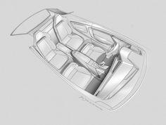 Audi Sport quattro Concept Interior Design Sketch.