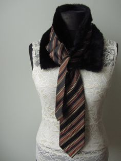 Upcycled Brown Faux Fur Necktie Collar / Women Accessories / Repurposed Necktie / by Garage Couture. $24.00, via Etsy.