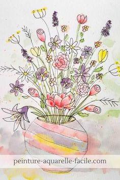 Tuto aquarelle disponible dans le Club Aquarelle : un bouquet de fleurs à la peinture aquarelle style doodling Watercolor Art Lessons, Watercolor And Ink, Ppr, Art World, Color Mixing, Wild Flowers, Mixed Media, Creations, Flower Paintings