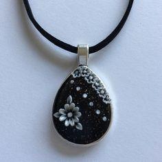 Shimmering Black & White Floral Polymer Applique Drop Pendant £5.99