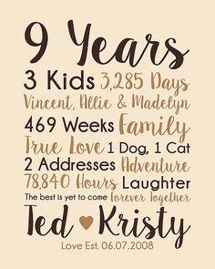 9th Anniversary Gift, 9 Years Married, Wedding Anniversary Gift ...
