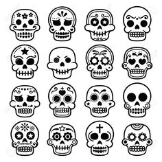Halloween, Mexican sugar skull, Dia de los Muertos - cartoon icons Canvas Print ✓ Easy Installation ✓ 365 Days to Return ✓ Browse other patterns from this collection! Sugar Skull Images, Sugar Skull Design, Sugar Skull Art, Sugar Skulls, Dibujos Sugar Skull, Los Muertos Tattoo, Skull Template, Skull Icon, Skull Coloring Pages