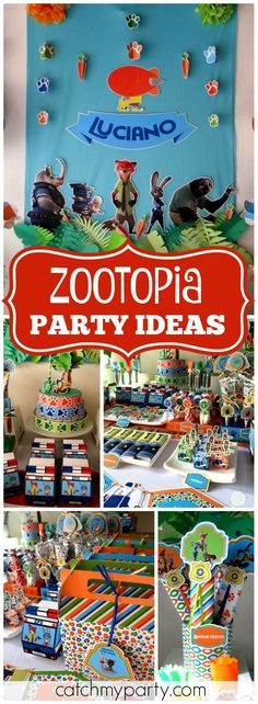 How cool is this colorful Zootopia birthday party?! See more party ideas at Catchmyparty.com!
