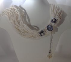 Necklace multi rows made of beautiful OffWhite Linen by ByMima, €56.00