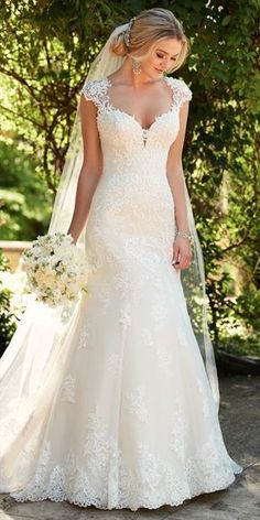 An updated silhouette for the traditional bride, this lace wedding dress with illusion back from Essense of Australia is simply dreamy! Featuring organic lace, the sweetheart neckline of this style ex Spring 2017 Wedding Dresses, Princess Wedding Dresses, Dream Wedding Dresses, Bridal Dresses, Wedding Dress Necklines, Wedding Skirt, Wedding Dress Country, Wedding Dress Straps, Sheath Wedding Dresses