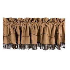 Tailored brown robbins egg blue paisley pattern flat squire imperial board mounted valance with ball fringe lined
