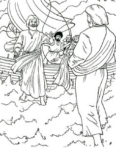 jesus walks on water coloring pages for kids