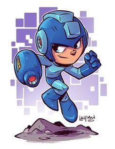 Chibi Mega Man - by Derek Laufman Flash Comics, Dc Comics, Mega Man, Logo Super Heros, Game Character, Character Design, Chibi Marvel, Super Anime, Chibi Characters